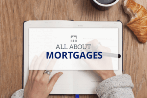 All About Mortgages text over person writing in notebook