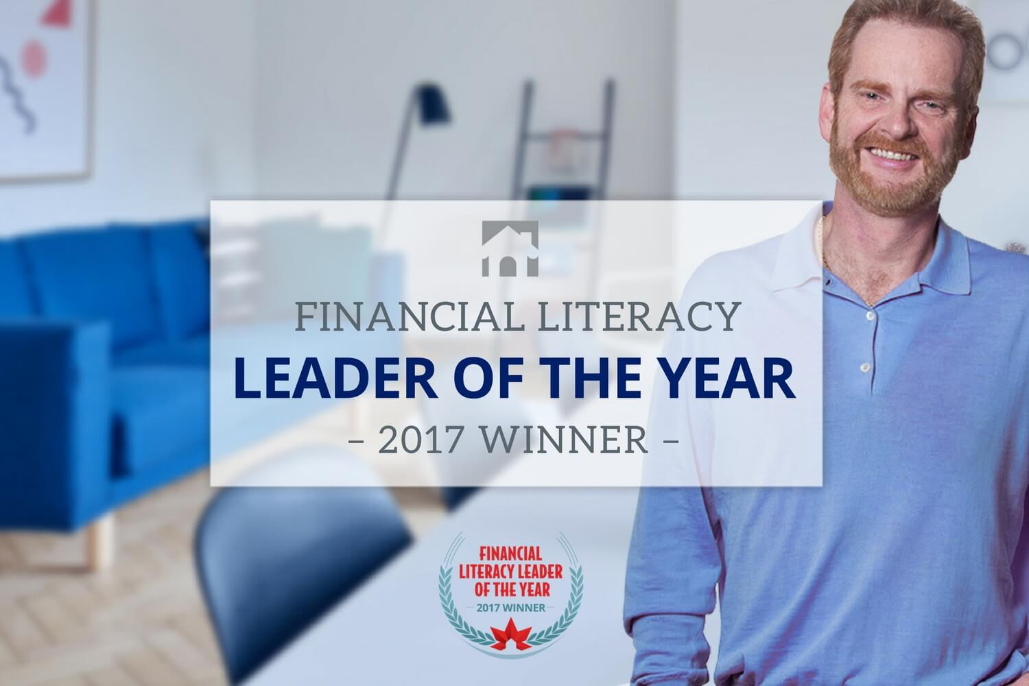 "Financial Literacy - Hero image of Ross in background with text overlay that reads "" Financial Literacy Leader of the Year 2017 Winner"